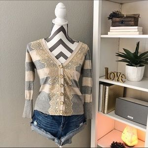 Anthropologie Sweaters - CHARLOTTE Stripped/Lace Cardigan